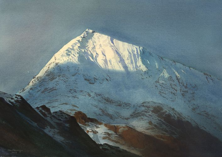 Y Crib Goch, an original watercolour painting by Rob Piercy