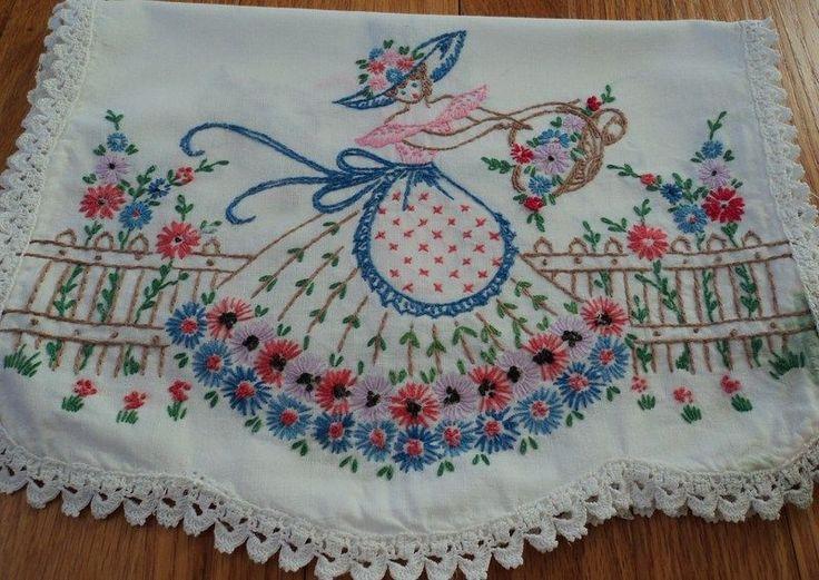 Vintage  Southern  Belle  Embroidery  Runner  Dresser  Scarf