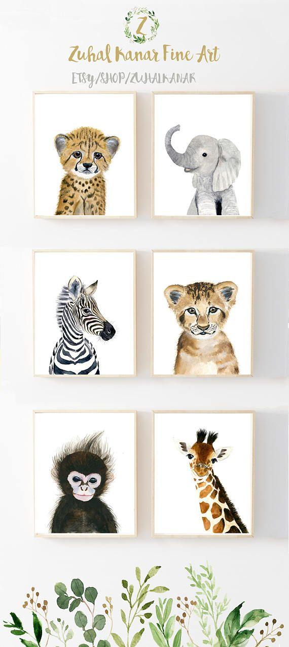 Baby Animal Prints, Kindergarten Print Set 6, Safari Kindergarten Kunstdrucke Baby Animal Print Baby Elefant Safari Kinderzimmer Dekor Babt Tierkunst