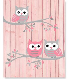 Hibou de crèche Art hiboux rose et gris par SweetPeaNurseryArt