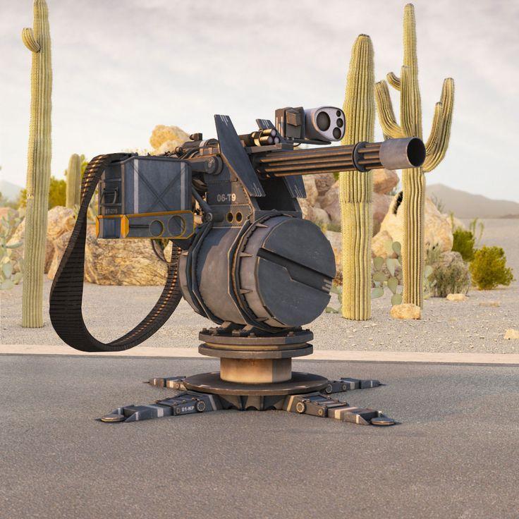 turret 3d model low-poly max obj 3ds fbx tga 1
