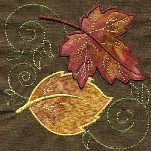 "Applique Leaf Quilt Square - want to combine some leaves like these with the kites quilt (on my ""Quilting"" board), plus in the center of the quilt machine embroider a short poem about kites that I found online (will pin next).  Free-motion quilt with wind swirls."