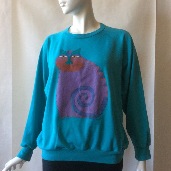 Laurel Burch Mythical Cat sweatshirt San by afterglowvintage