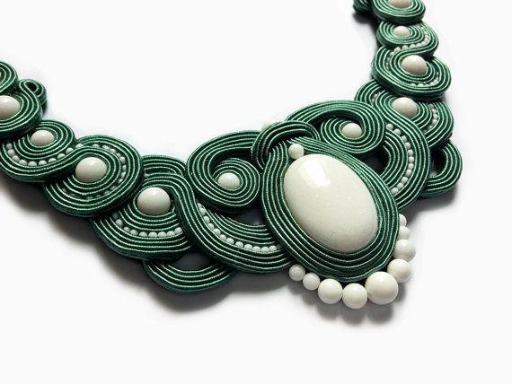 Green Soutache NecklaceWhite Necklace Wedding by RenaSoutacheArt