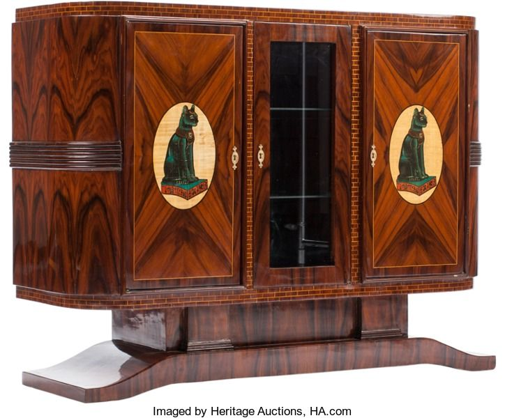 Furniture French An Art Deco Style Console Cabinet With Egyptian Motif H X 50 W D Inches 127