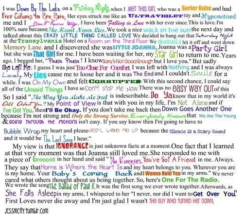 Mcfly song lyrics. This is amazing I love this :)