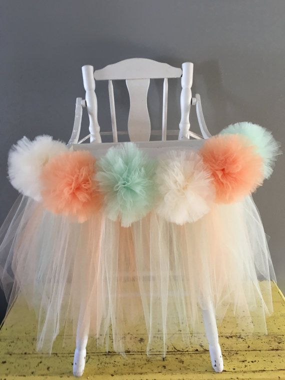 Peach/Mint/Ivory High Chair Tutu tulle by AvaryMaeInspirations