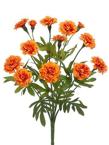 Marigold silk flower bush in orange 15 tall by allstate for Allstate floral and craft