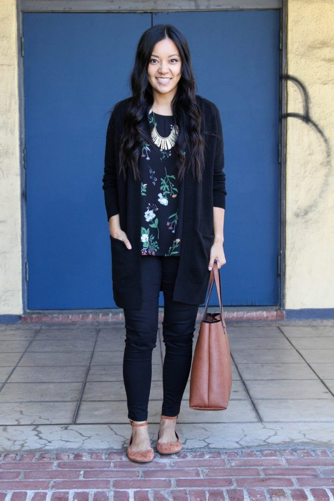 Black Floral Shirt and Black Cardigan Outfit