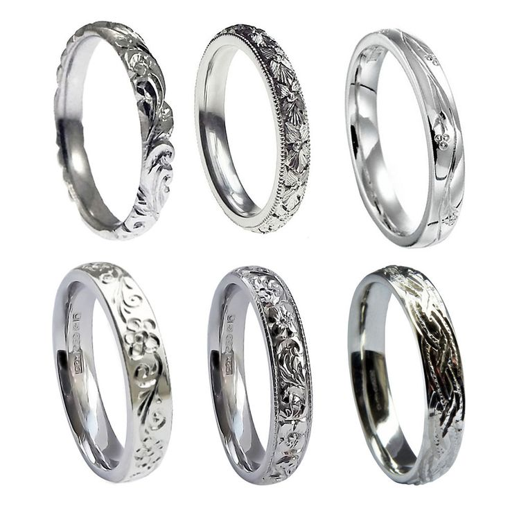 NEW 925 HM 3mm Sterling Silver Hand Engraved Court Comfort Wedding Bands Rings #AceJewelleryOfYork #Band #Wedding