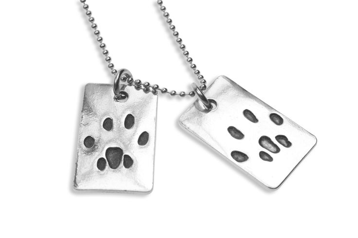 Double paw print pendant on ball chain   www.silverpetprints.com