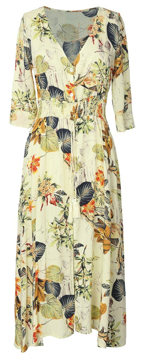 Short Shipping Time! Easy Return + Refund! Update your wardrobe with a unique Garden Gathering Leaves Plunging Dress. It's so chic & comfy, you'll want to wear it all the time.