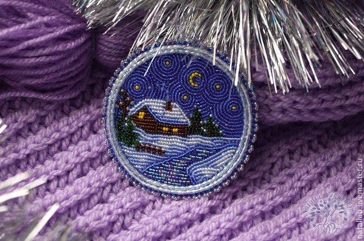 """Брошь """"Зимняя сказка"""" - темно-синий,брошь,вышивка,пейзаж,зима,Снег,синий"""