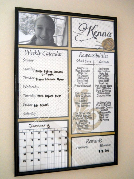 Personalized Responsibility Chore Chart Dry Erase by breazybea