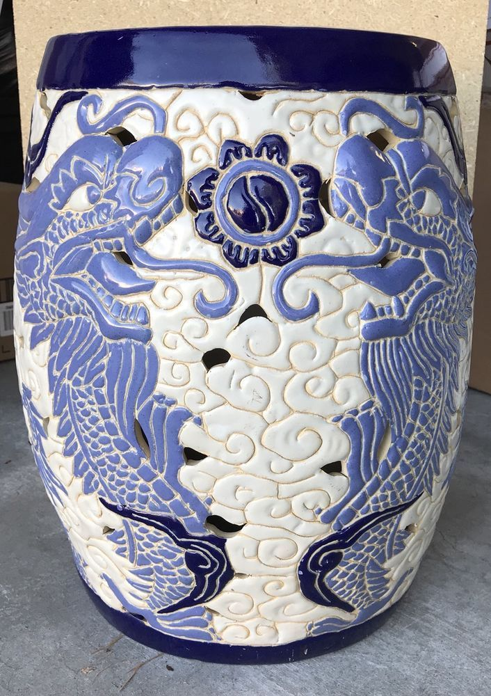 Vintage Chinese Asian Dragons Motif White And Blue Ceramic Garden Stool Unbranded White Dragon Garden Stool Asian Garden