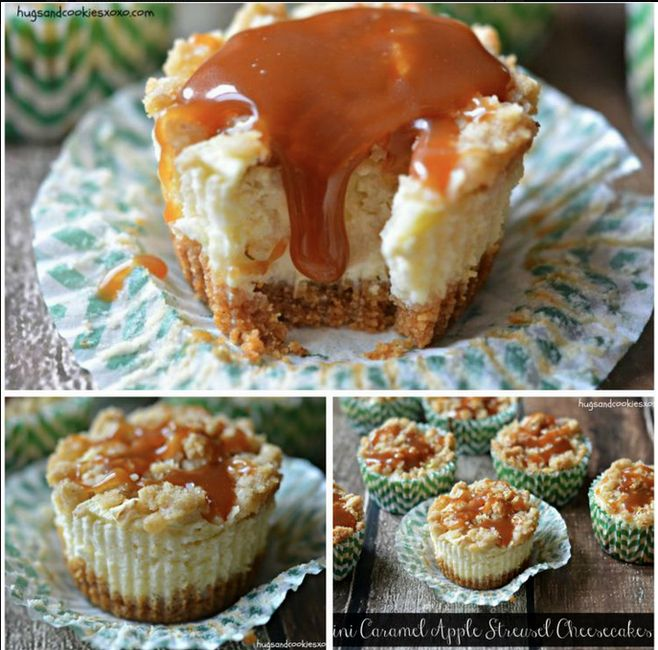 Mini Caramel Apple Streusel Cheesecakes!
