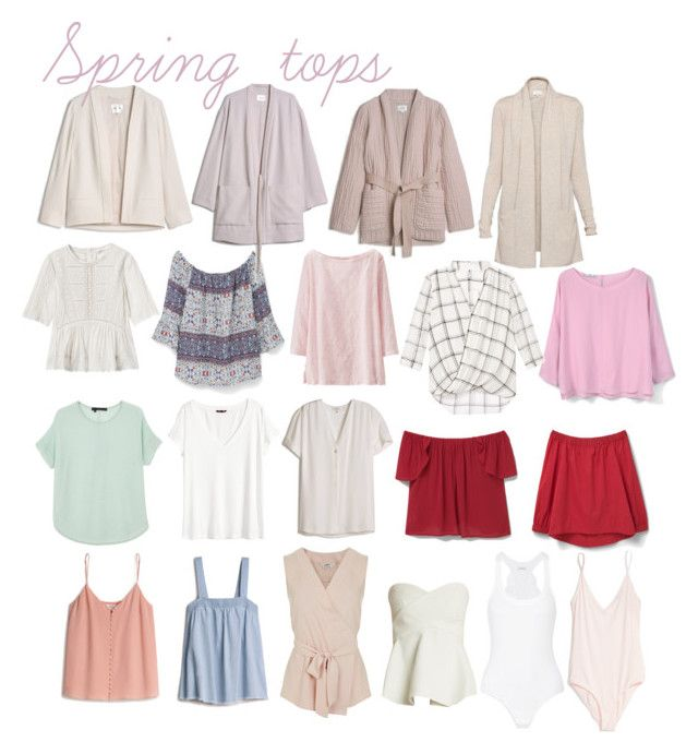"""Spring tops"" by karleighrempel on Polyvore featuring MANGO, La Perla, Uniqlo, H&M, 10 Crosby Derek Lam, T.Babaton, Rebecca Taylor, Miss Selfridge and 360 Sweater"