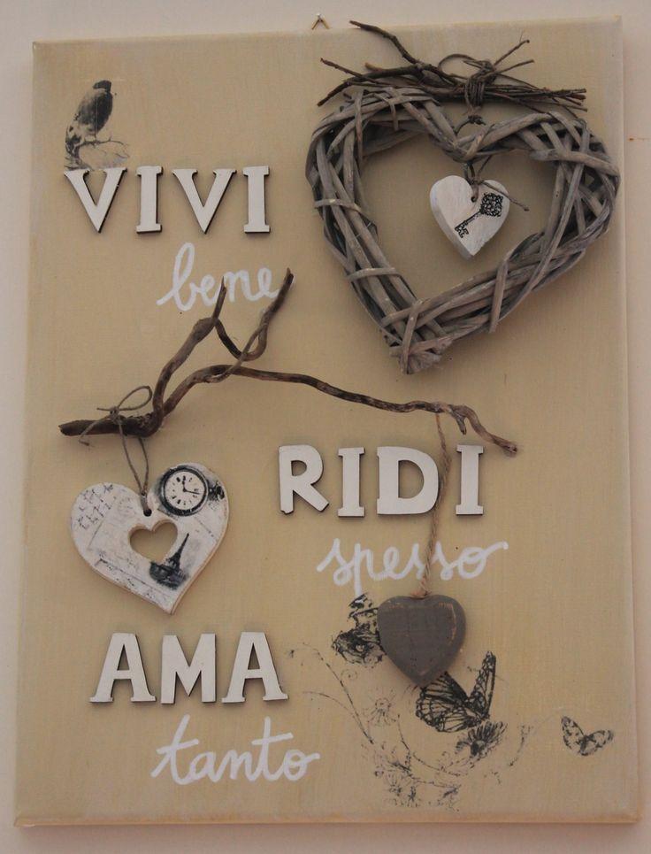 shabby home decor Quadro in tela e legno Vivi ridi ama live love laugh canvas and wood