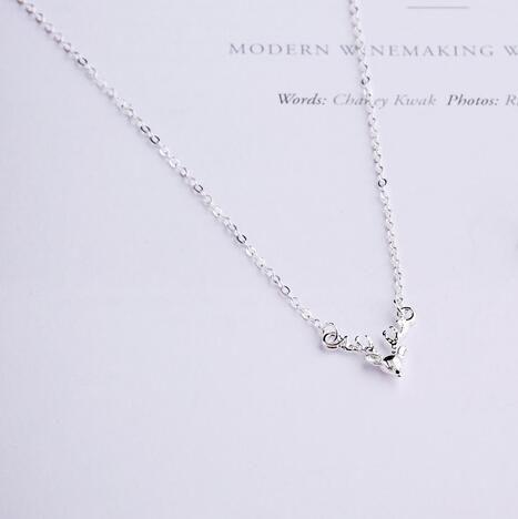 Новая Мода Стерлингового Серебра 925 Рога Оленя Голова Животных Ожерелья Кулон Горячие Продажи Чистого Серебра Ювелирные Изделия для Женщин Бесплатная Доставка