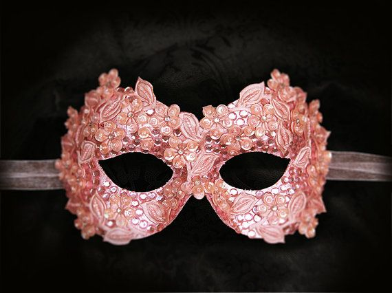 Sequined Pink Masquerade Mask With Rhinestones And by SOFFITTA