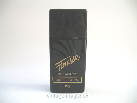 LENTHERIC FINESSE Vintage Perfumed Talc Powder, black and gold bottle, retro toiletry,  by VintageImageBox: Vintage Vanities, Perfume Talc, Finess Vintage, Vintage Perfume, Retro Toiletries, Gold Bottle, Beauty Collection, Talc Powder, Lenther Finess