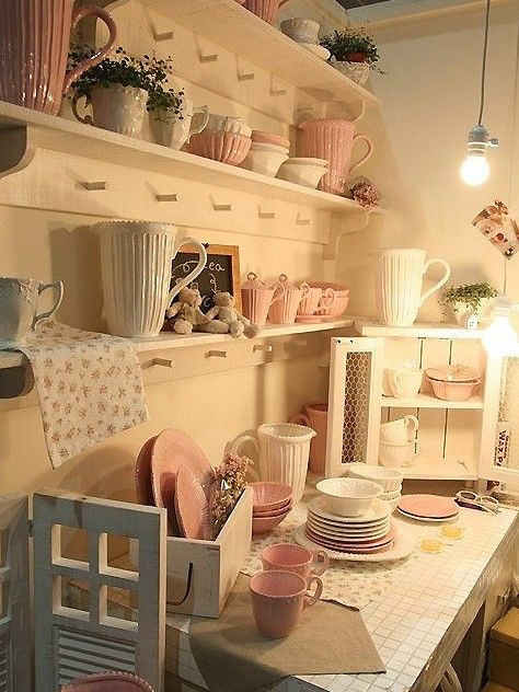 Shabby chic ~plain shelves, pegs, white & pink dishes ~ <3