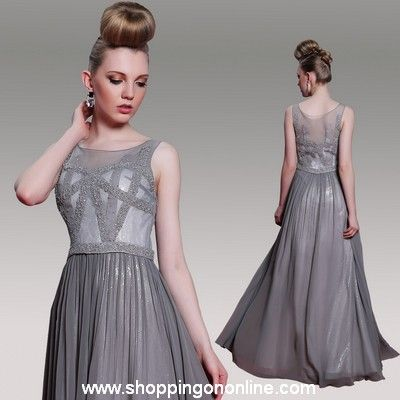 Grey Prom Dress - Jewel Sleeveless Beaded $198.40 (was $248) Click here to see more details http://shoppingononline.com/prom-dresses/grey-prom-dress-jewel-sleeveless-beaded.html #GreyPromDress #GreyBeadedPromDress #SleevelessPromDress #GreyDress #PromDress
