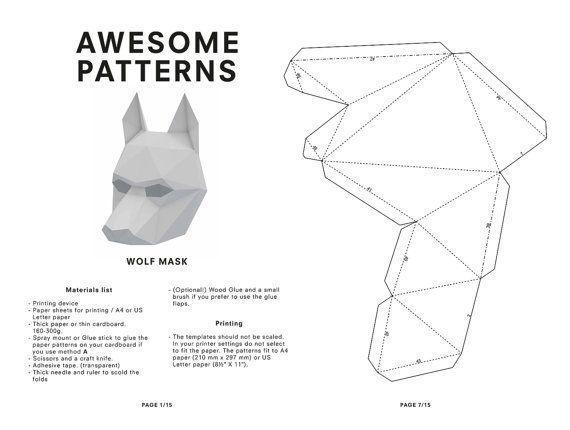 DIY Wolf Mask, Low Poly Paper Craft Template, Printable