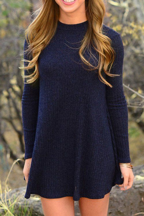 High Collar Pure Color Keep Warm Dress
