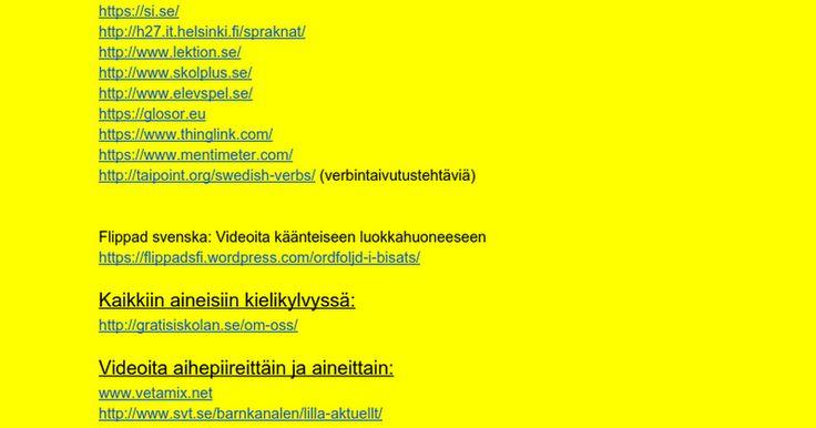 Linkkivinkkejä ruotsiin: Hyväksi havaittuja apuvälineitä ruotsintunneille (alakoulu + yläkoulu)