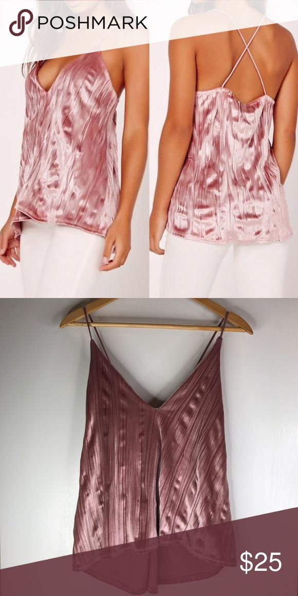 Pink Velvet Cami Tank Pink pleated velvet cross back high low cami tank from Missguided. Brand new with tags never worn! Size: US 2  Similar to Nasty Gal, Hot Miami Styles, Bebe, Zara, Topshop, ASOS, Missguided, House of CB, Mistress Rocks, Boohoo, Windsor, Go Jane, Forever 21, Love Culture, Tobi, Lulu's, Oh Polly, In The Style, White Fox Boutique Missguided Tops Tank Tops