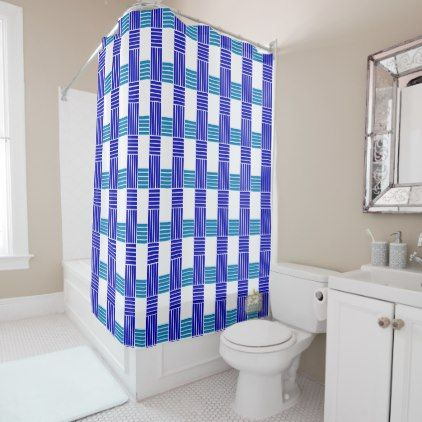 Fives Lines Cross Blues Shower Curtain Set - shower gifts diy customize creative