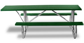 Wheelchair Accessible Overhang Recycled Plastic Picnic Table with Galvanized Frame