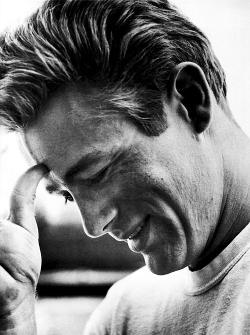 """James Dean photographed by Sid Avery on the set of """"Rebel Without a Cause"""", 1955."""