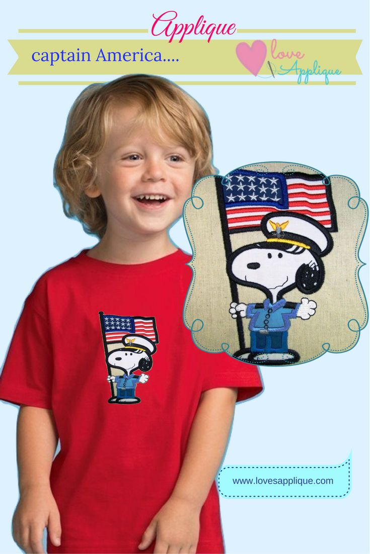 4th of July Applique. Patriotic Snoopy Applique. Snoopy and Peanuts. Snoopy Captain . Snoopy Party Ideas. Snoopy Embroidery , Snoopy Outfits, www.lovesapplique.com