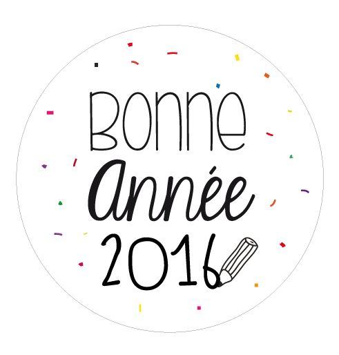 Badge aimanté   carte bonne année confettis