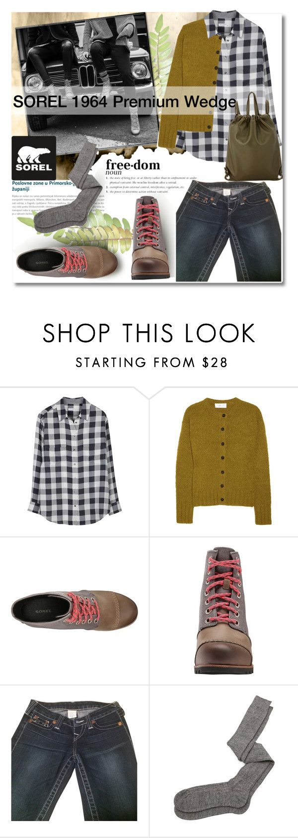 """""""The 1964 Premium Wedge from SOREL"""" by pattykake ❤ liked on Polyvore featuring SOREL, Equipment, A.L.C., True Religion, Aiayu, Robert Clergerie, Sorel, sorelstyle and premiumwedge"""
