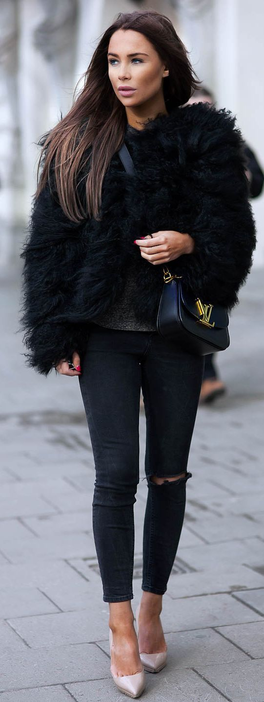 Best 25  Black fur coat ideas on Pinterest | Black faux fur coat ...