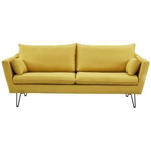 ARTHUR Canapé droit 4 places - Tissu jaune - Vintage - L 221 x P 88 cm