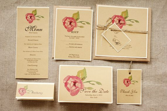 Rustic and watercolor wedding invitation - twine tag