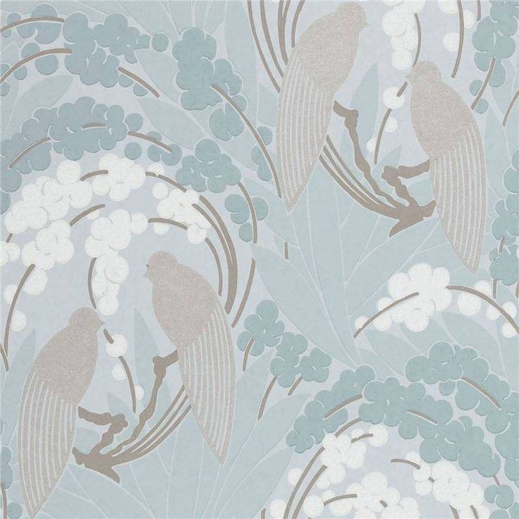 Decor Supplies | Duck Egg Blue / Silver - 60122 - Love Birds - Harlequin Boutique Wallpaper