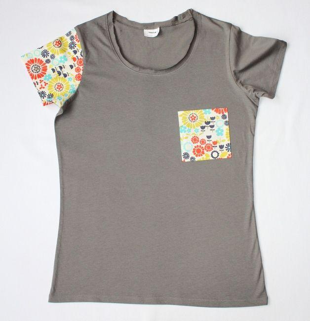 RoomStyle Bluzka Szara Kwiaty Kieszonka M - RoomStyle - Koszulki z aplikacją