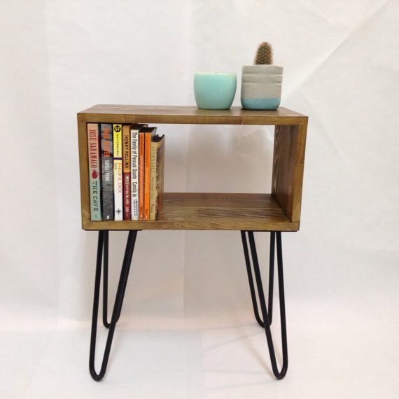 Hairpin Legs Side Table Mid Century Modern by VintageHouseCoruna