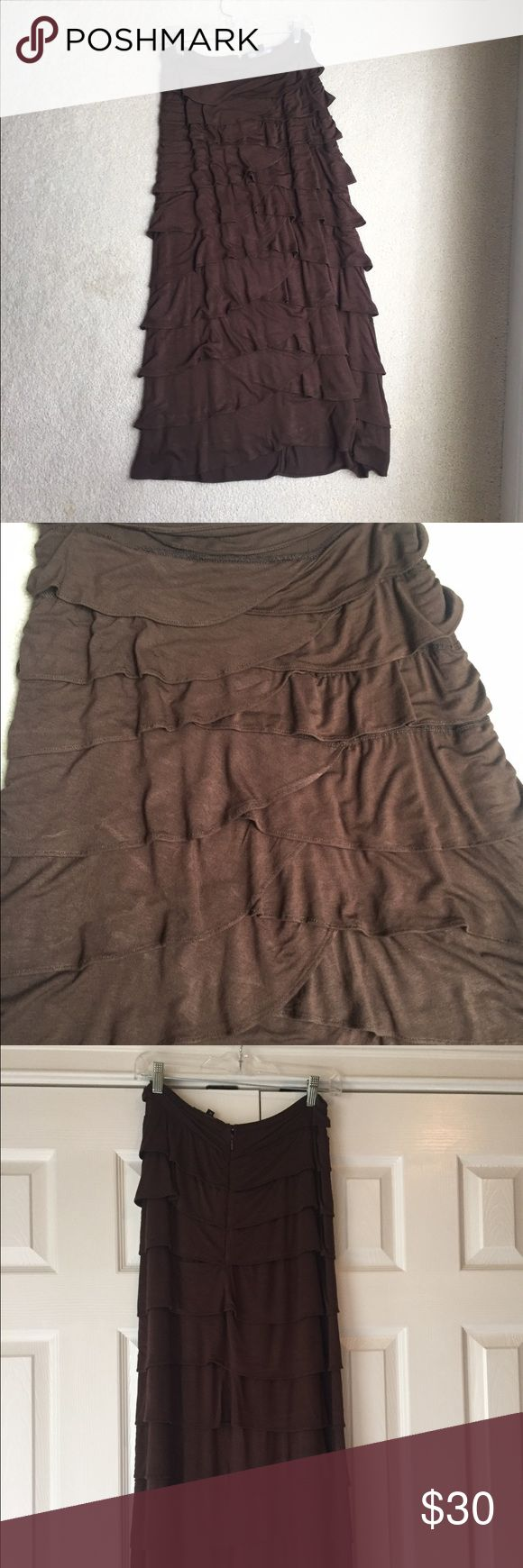 Mermaid skirt Chocolate brown cotton layered mermaid skirt. Super flattering. Looks great with a short denim jacket and top. Great for fall! Works well with cute sandals in the spring too! Length is about to the ankle. Machine washable and hang to dry. Worn only a few times. Excellent condition. Purchased from a cute boutique at the beach. Skirts