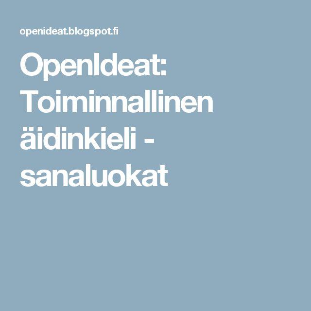 OpenIdeat: Toiminnallinen äidinkieli - sanaluokat