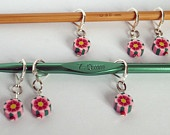 Set of 6 Pink Flower Fimo Crochet (leverback) Stitch Markers