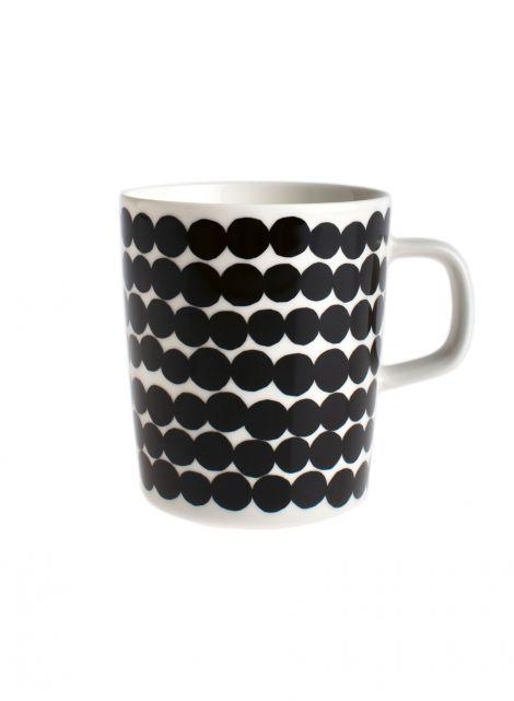 Oiva/Siirtolapuutarha mug (white,black/räsymatto) |Décor, Kitchen & Dining, Dinnerware, Kupit ja mukit | Marimekko