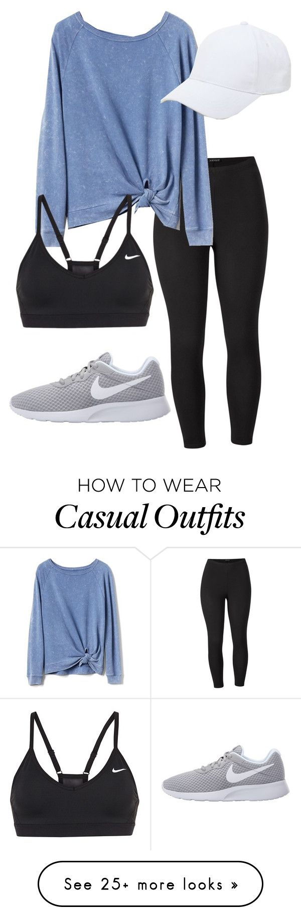 "Love the sweatshirt & shoes! & the plain white hat. (""Everyday Casual look ✔️"" by smhowie on Polyvore featuring Venus, Gap, NIKE, Sole Society and plus size clothing)"