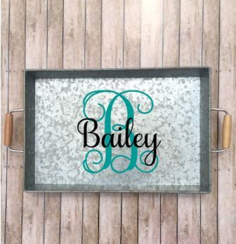 Monogrammed Serving Tray, Galvanized Custom Serving Tray, Metal Serving Tray…