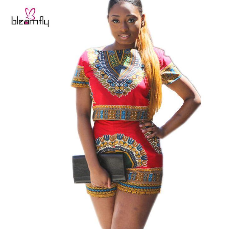 Grosir Wanita Dashiki set 2016 Dua Piece Pakaian Floral Print Tops Pendek Set pakaian Kasual Seksi plus ukuran tradisional afrika